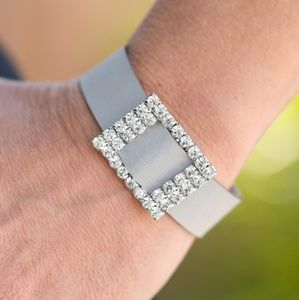 Gray Wrap Bracelet with Rhinestone Bling